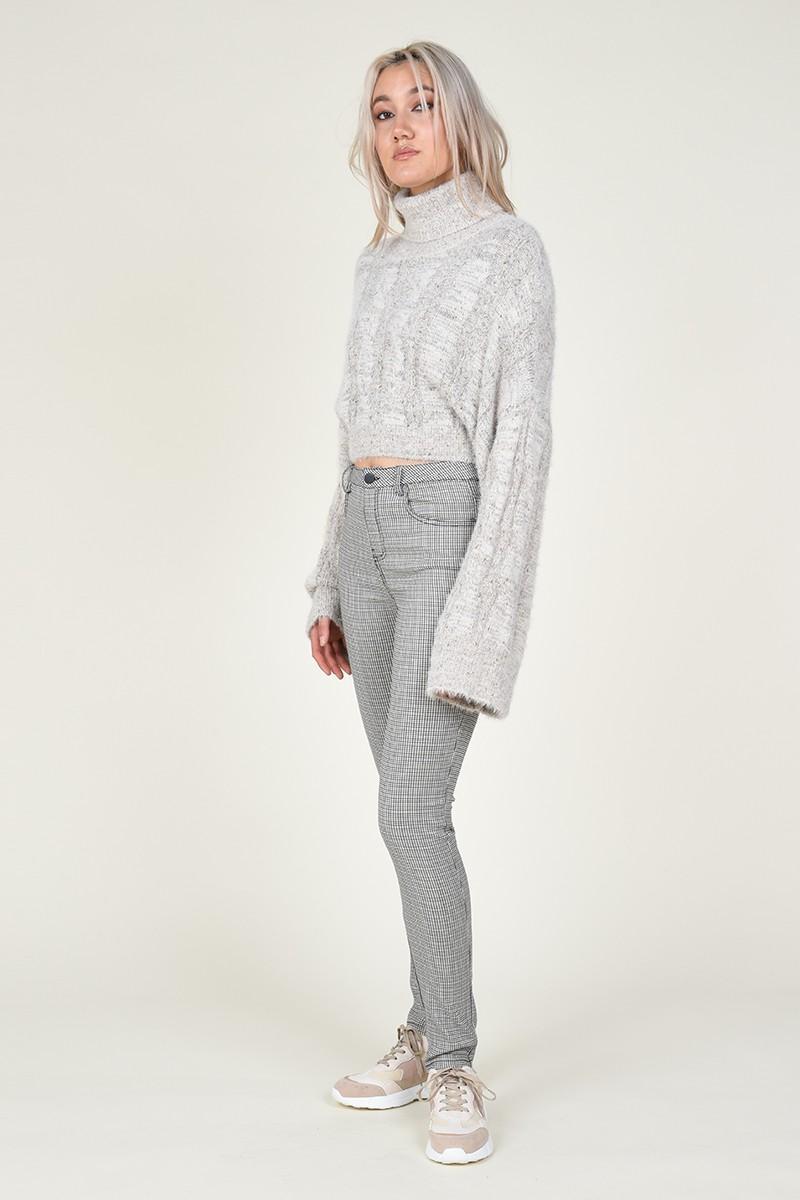 Pantalón estilo pitillo con estampado de cuadros pata de gallo molly bracken