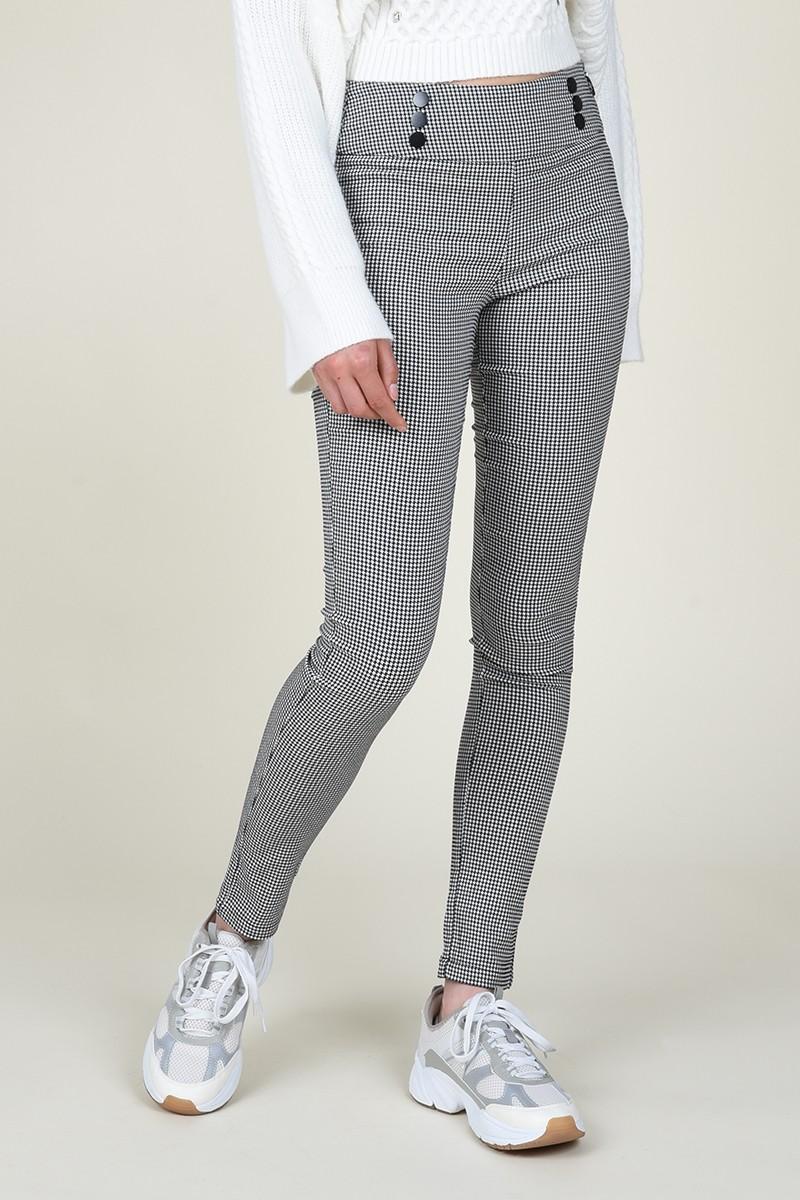Pantalón estilo jeggins con estampado de cuadros pata de gallo molly bracken