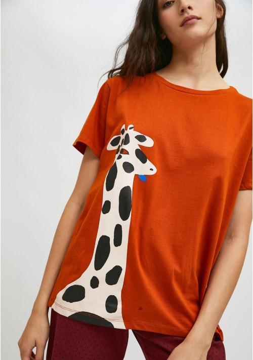 Camiseta de manga corta con animal print de jirafas COMPAÑIA FANTASTICA