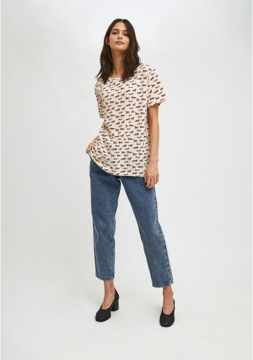 Camiseta de manga corta con animal print de zorros COMPAÑIA FANTASTICA
