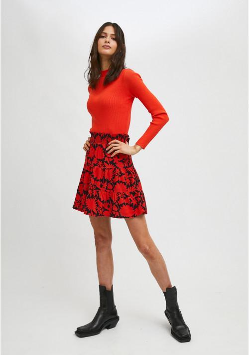 Falda corta de cintura elástica con estampado floral rojo y negro COMPAÑIA FANTASTICA