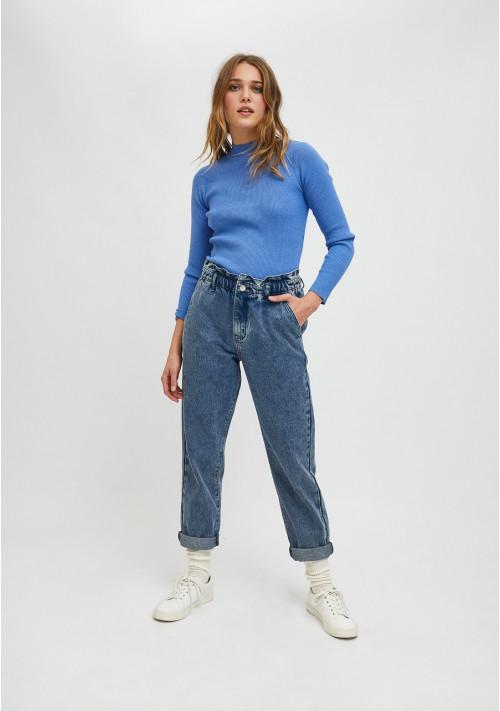Vaqueros de tiro alto con cintura elástica azul NNY02