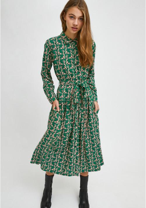 Vestido camisero midi con animal print de jirafas compañia fantastica she02