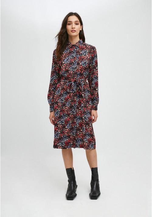 Vestido camisero midi con estampado floral de margaritas COMPAÑIA FANTASTICA