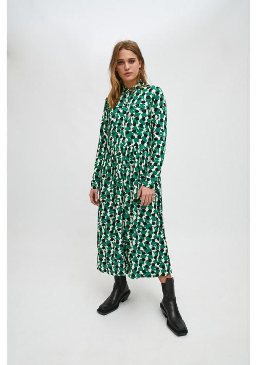 Vestido camisero midi con estampado geométrico verde coc10 compañia fantastica