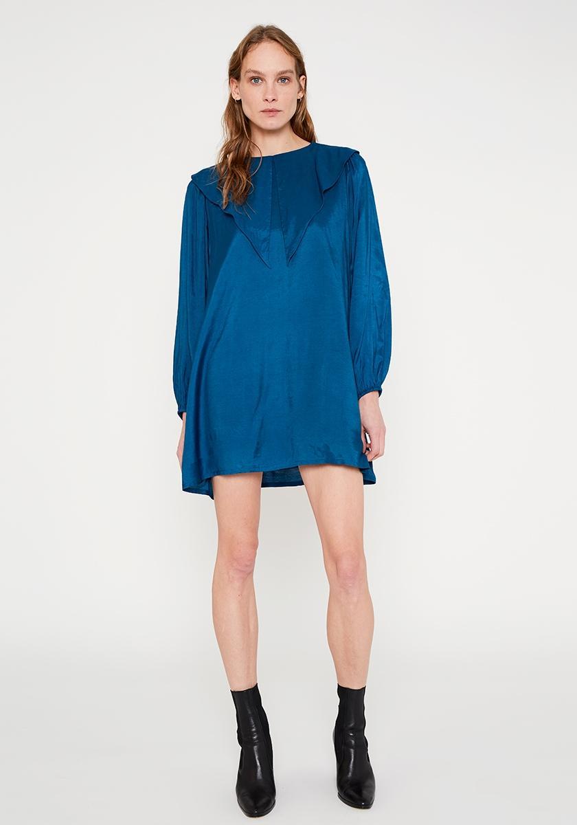 Vestido evasé corto en tejido fluido con cuello babero azul WILD PONY