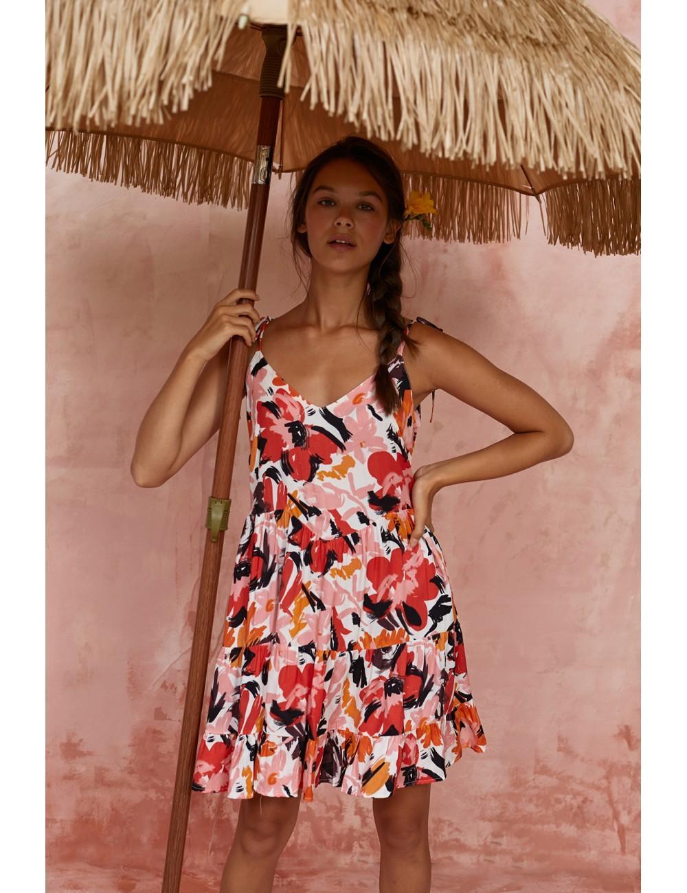 vestido corto tirante fino flores guiajira maggie sweet