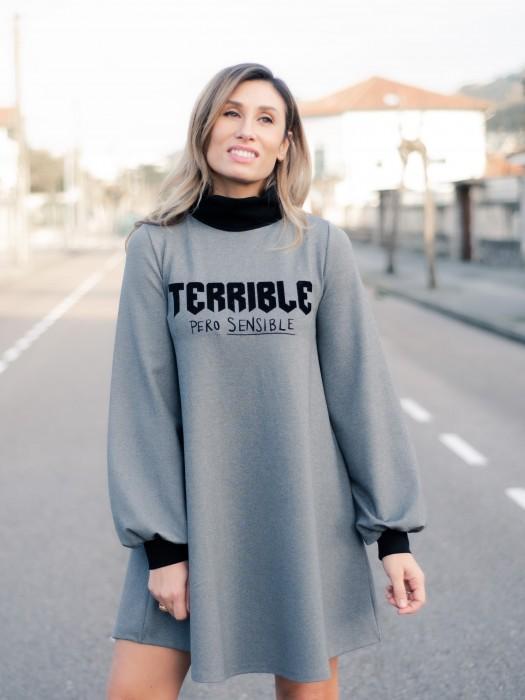 VESTIDO TERRIBLE GRIS DE AIRE RETRO