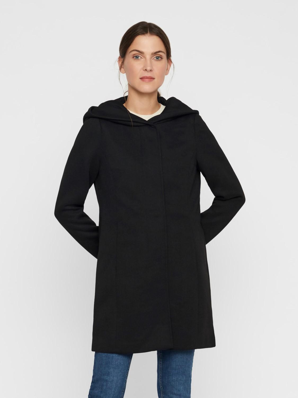 abrigo negro paño capucha verodona VM
