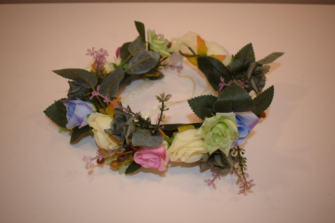 Cinturon/Corona de flores Blanco roto