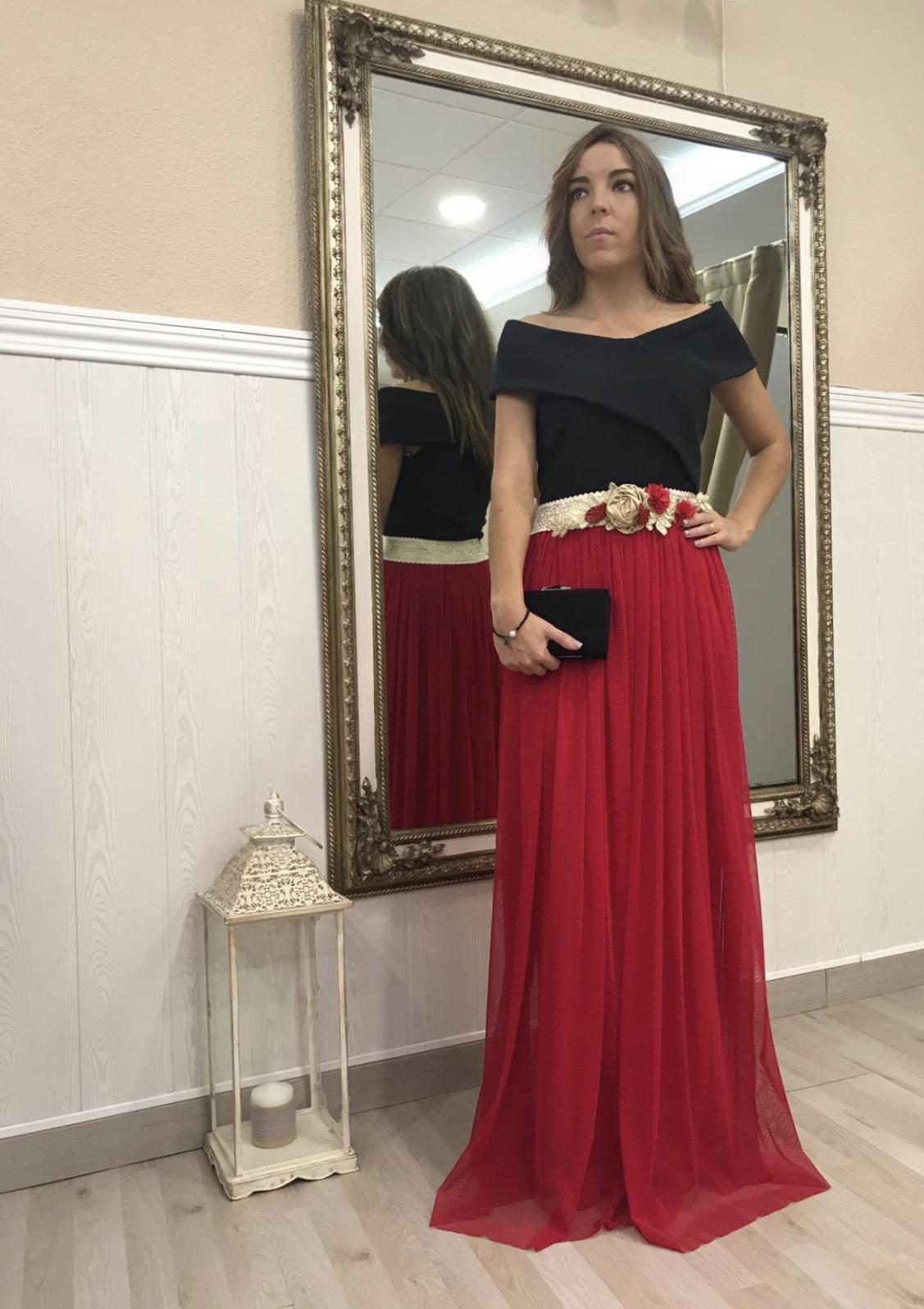 Falda tul Julia roja