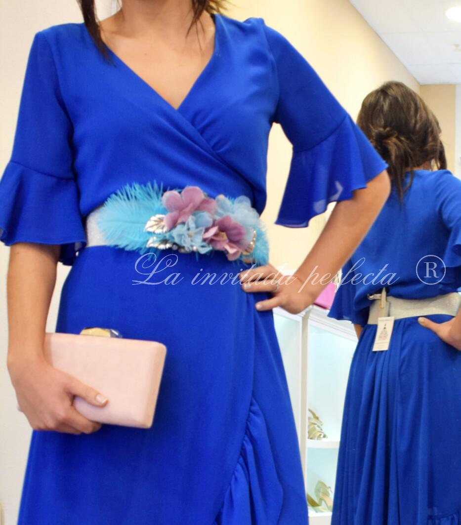 Cinturon plumas Azul/Plata