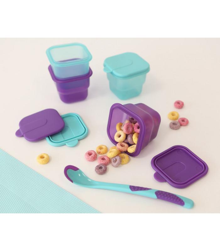 Tarritos y cuchara para bebé con sensor de calor en azul