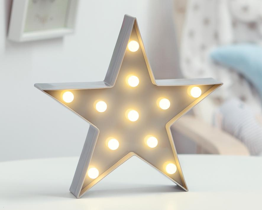 Estrella Led Gris 27.5x27.5x4.5cm Kiokids