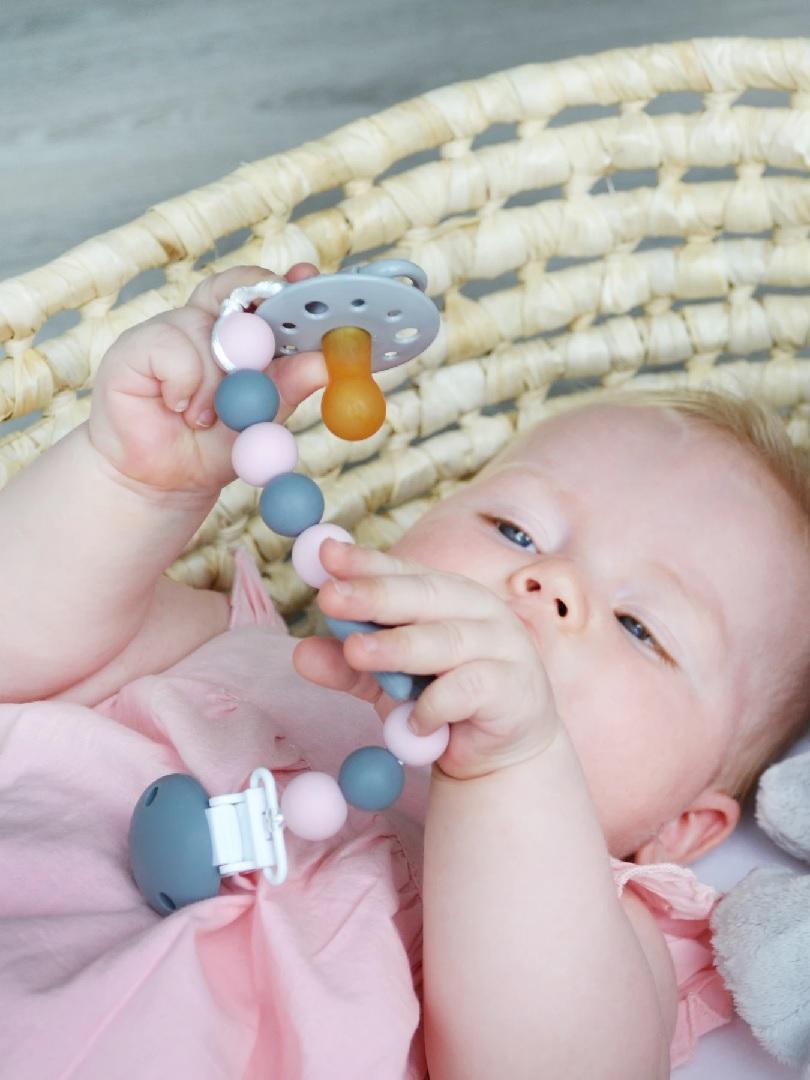 My Baby Rocks Star Rosa Cadena para Chupete Silicona