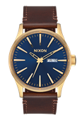 Sentry Leather Polished Gold / Navy Sunray NIXON