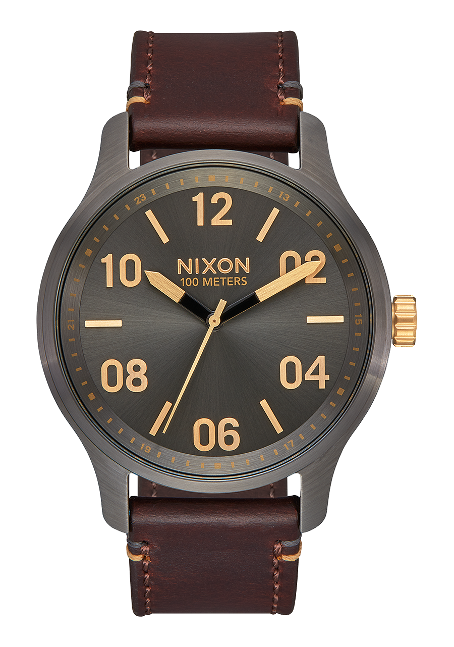 Patrol Leather Gunmetal/Gold NIXON