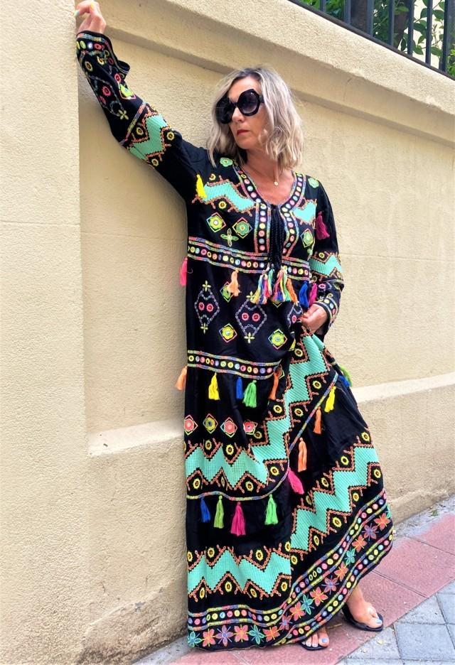 vestido largo borlas boho tosnac.com