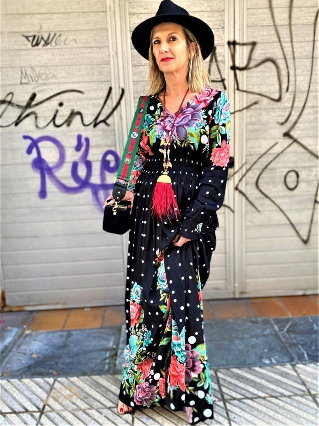 vestido largo lunares y flores tosnac.com