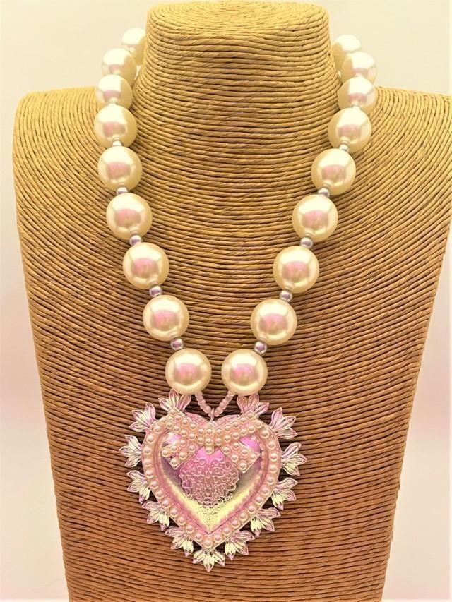 gargantilla perlas broche corazon tosnac.com
