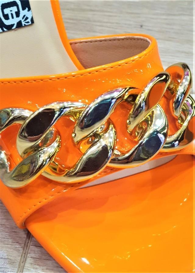 sandalia cadena oro tacon mujer