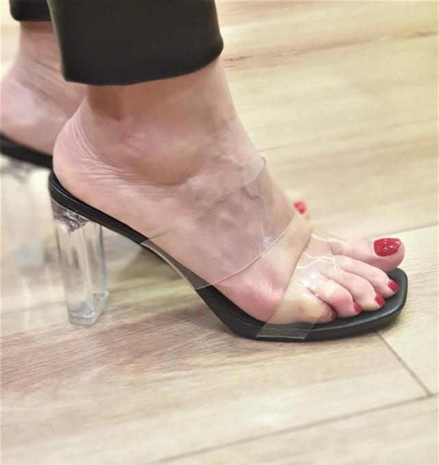sandalia transparente stephan tacon mujer